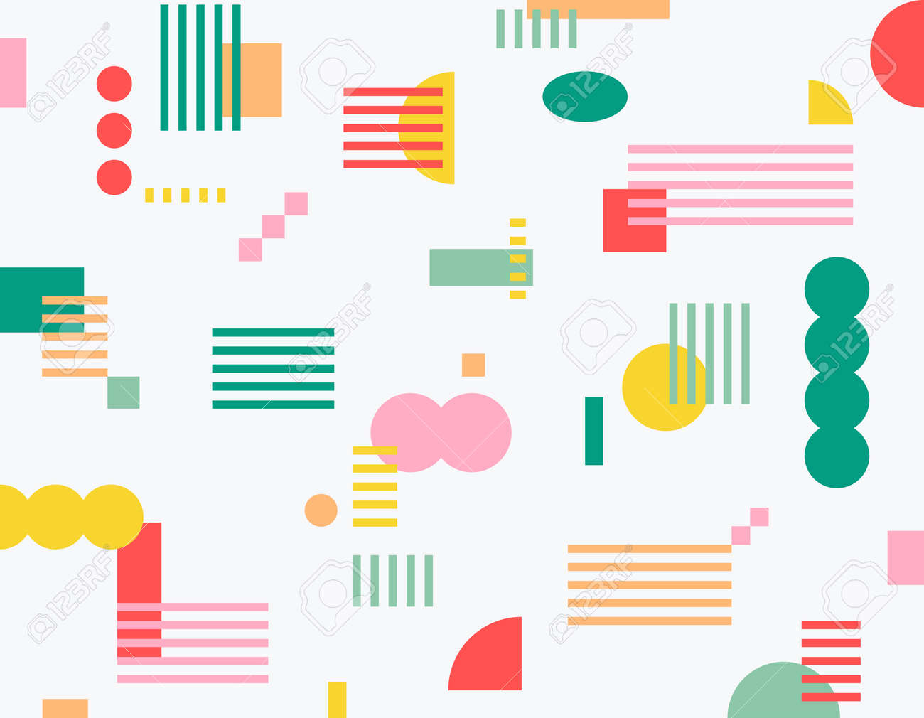 Striped squares and circular shapes scattered in various sizes on a white background. Simple pattern design template. - 172465755