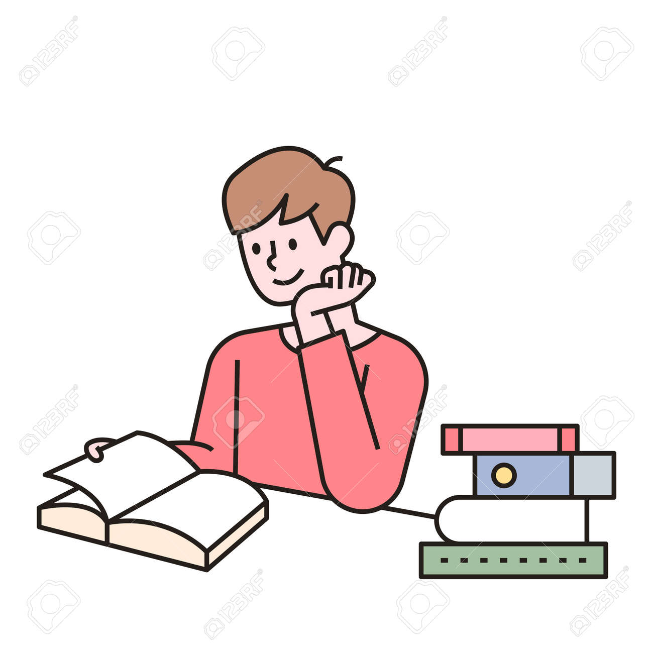 A man is reading a book at his desk, with books stacked next to him. outline simple vector illustration. - 172561213