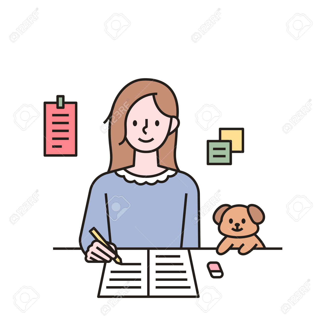 A woman is studying and a cute puppy is next to her. outline simple vector illustration. - 172561334
