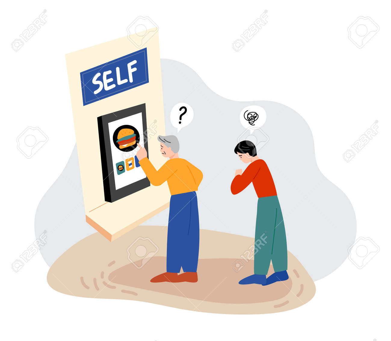 An old man does not know how to use a kiosk. - 172561344
