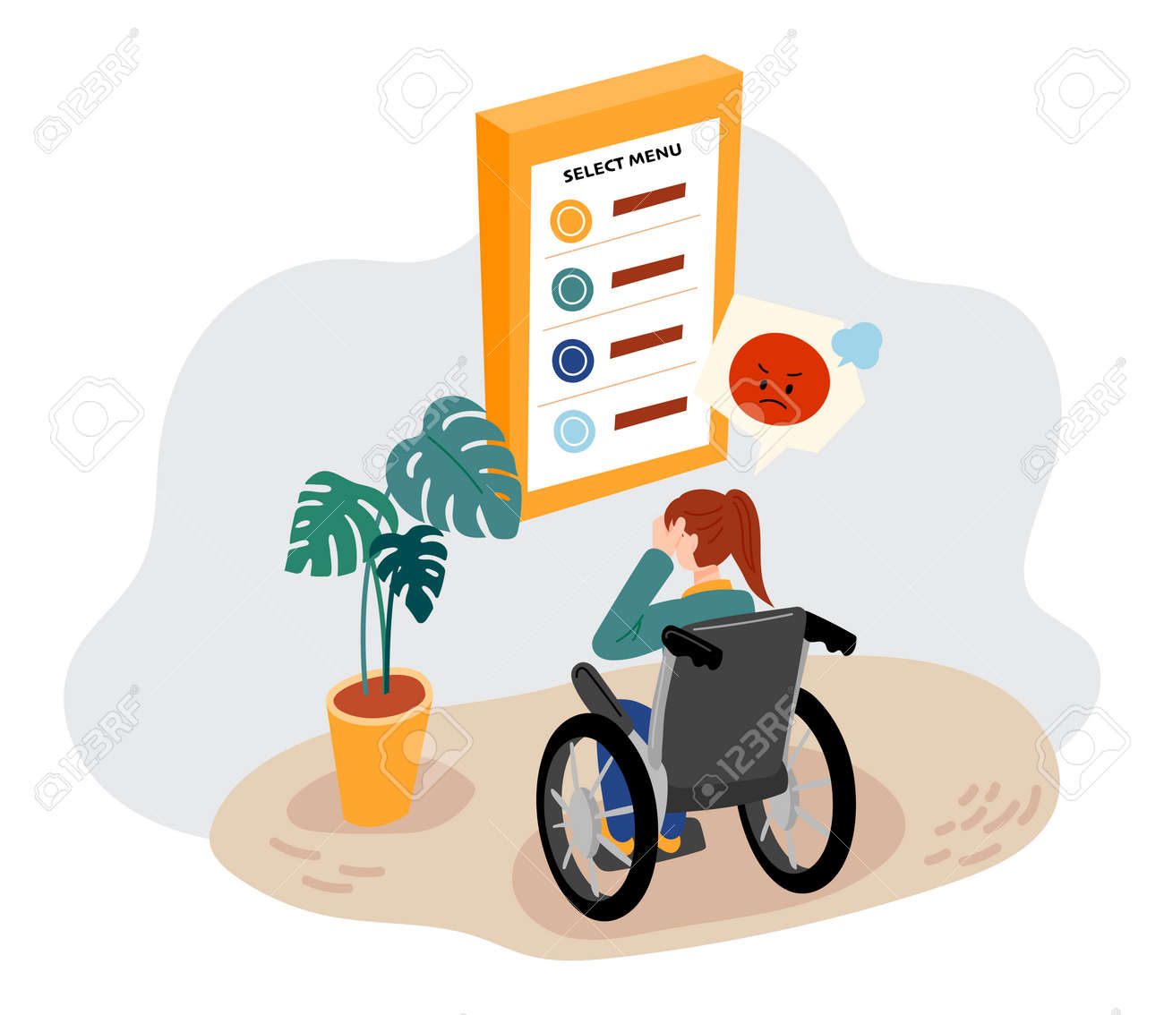 The kiosk is set too high for disabled people in wheelchairs. - 172561345