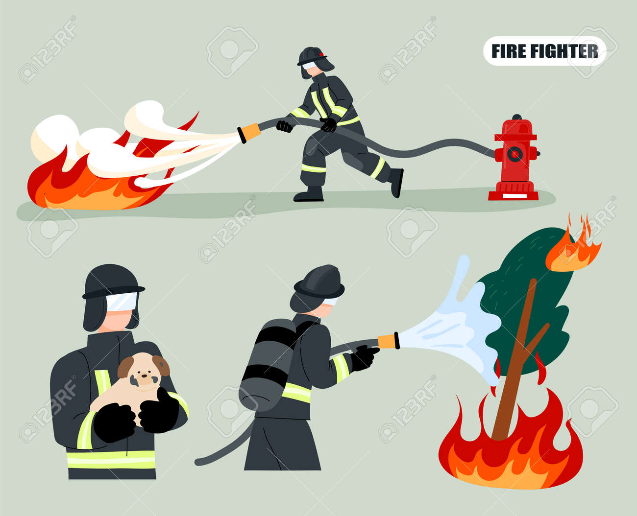 Firefighter putting out a fire with a hose connected to a hydrant. Firefighters rescued the dog. flat design style minimal vector illustration. - 172561352