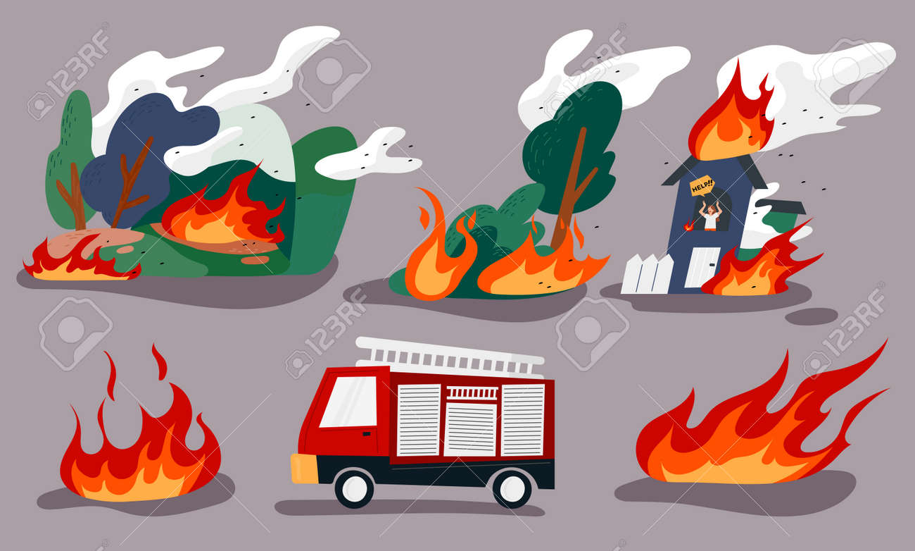 A burning forest, a man trapped in a burning house, and a fire engine. flat design style minimal vector illustration. - 172559898