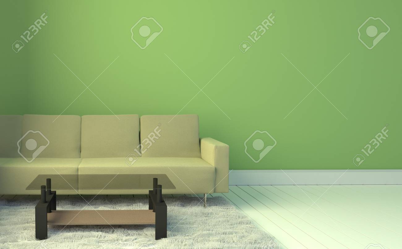 Living Room Interior With Yellow Sofa And Carpet, Light Blue Wall  Background. 3D Rendering