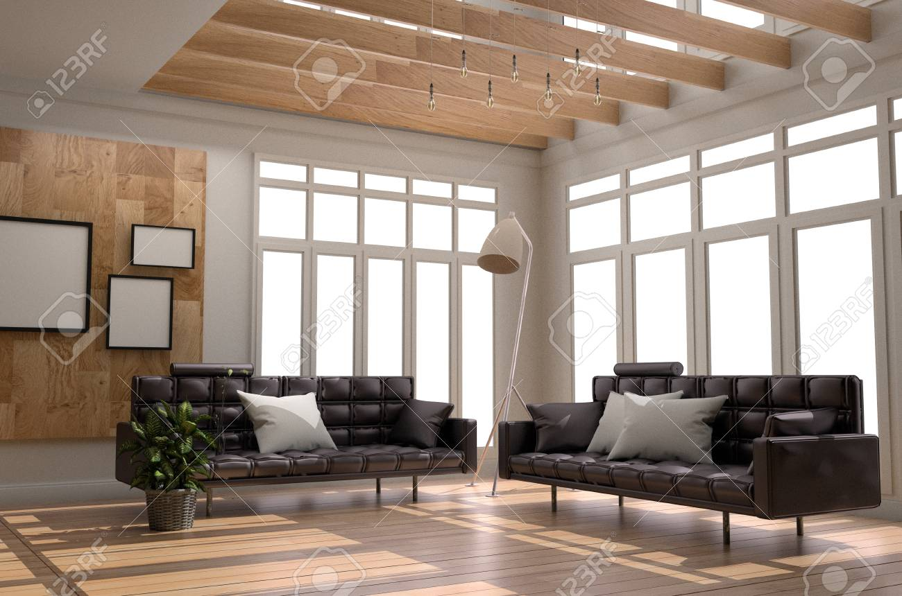 Living Room Interior Scandinavian Style - Modern Room With Sofa ...