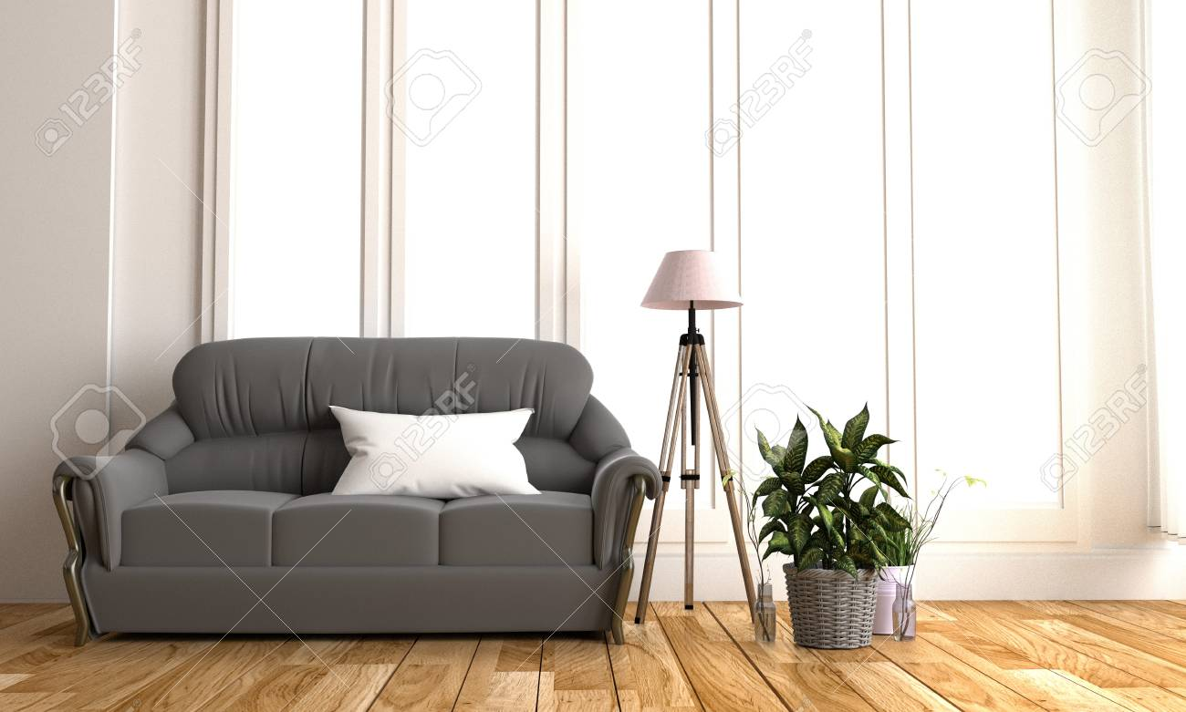 Modern black fabric sofa in white room interior parquet wood..