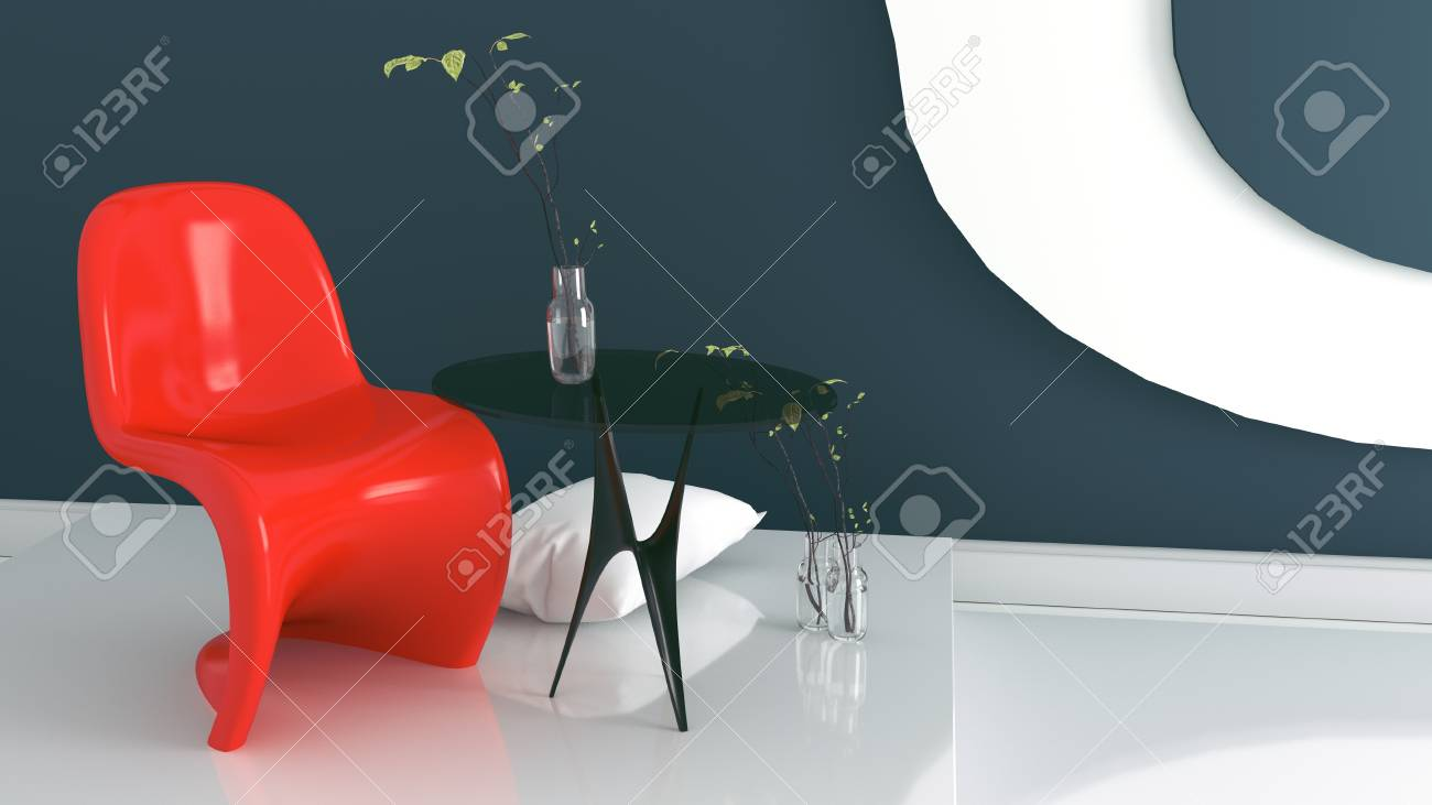 Brilliant Living Room With Red Armchair And Vase On Dark Blue And White Pabps2019 Chair Design Images Pabps2019Com