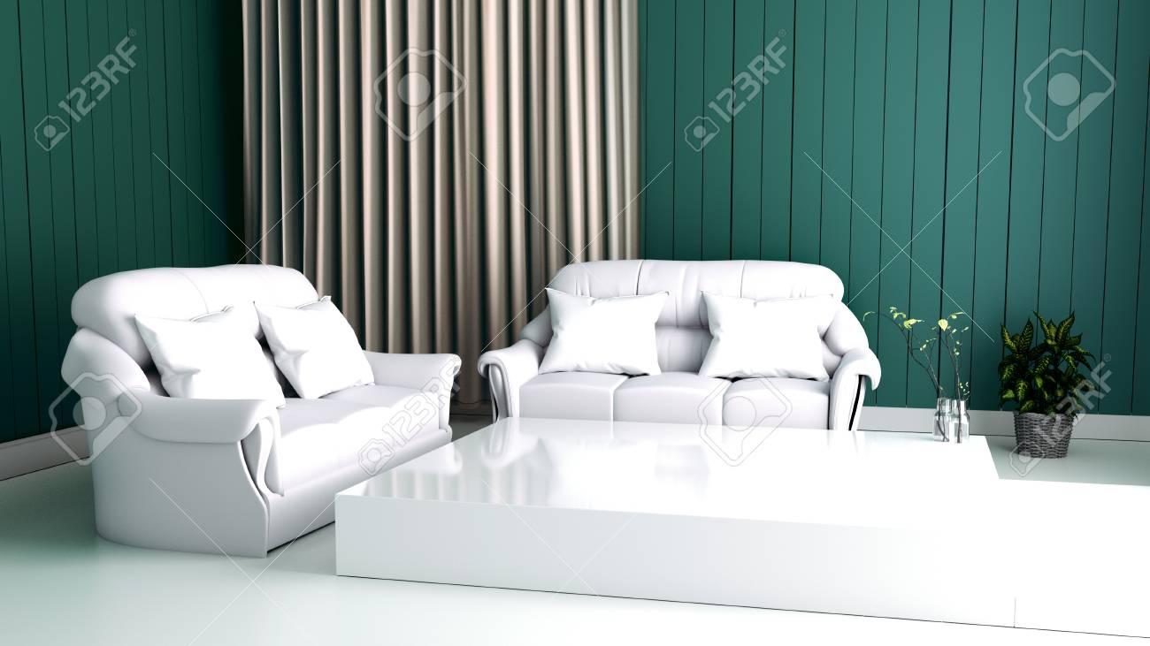 Modern Interieur Living : Modern interior of living room and soft sofa on wall dark d