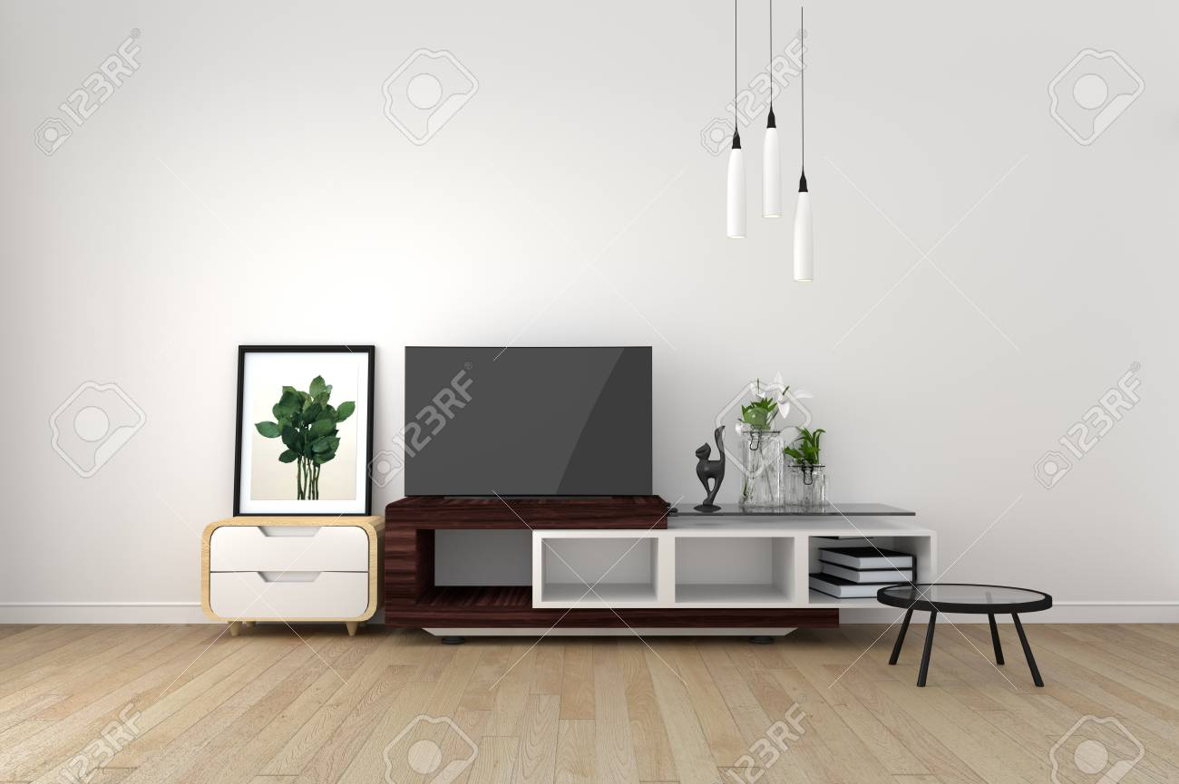 Smart Tv Mock Up On Empty Room Living Room Tropical Style 3d Stock Photo Picture And Royalty Free Image Image 110027325