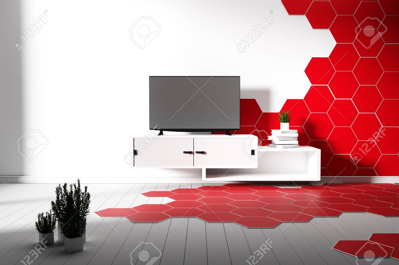 Hexagon Tile Color Red And White Hardwood Floor Minimal 3d