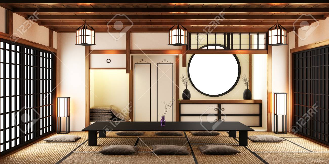 Japanese Style Room Interior Design 3d Rendering Stock Photo Picture And Royalty Free Image Image 110029704