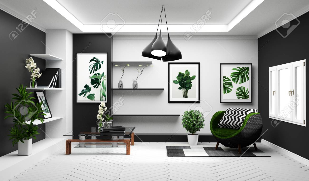 Modern Tropical living room interior with sofa and green plants,lamp,table..