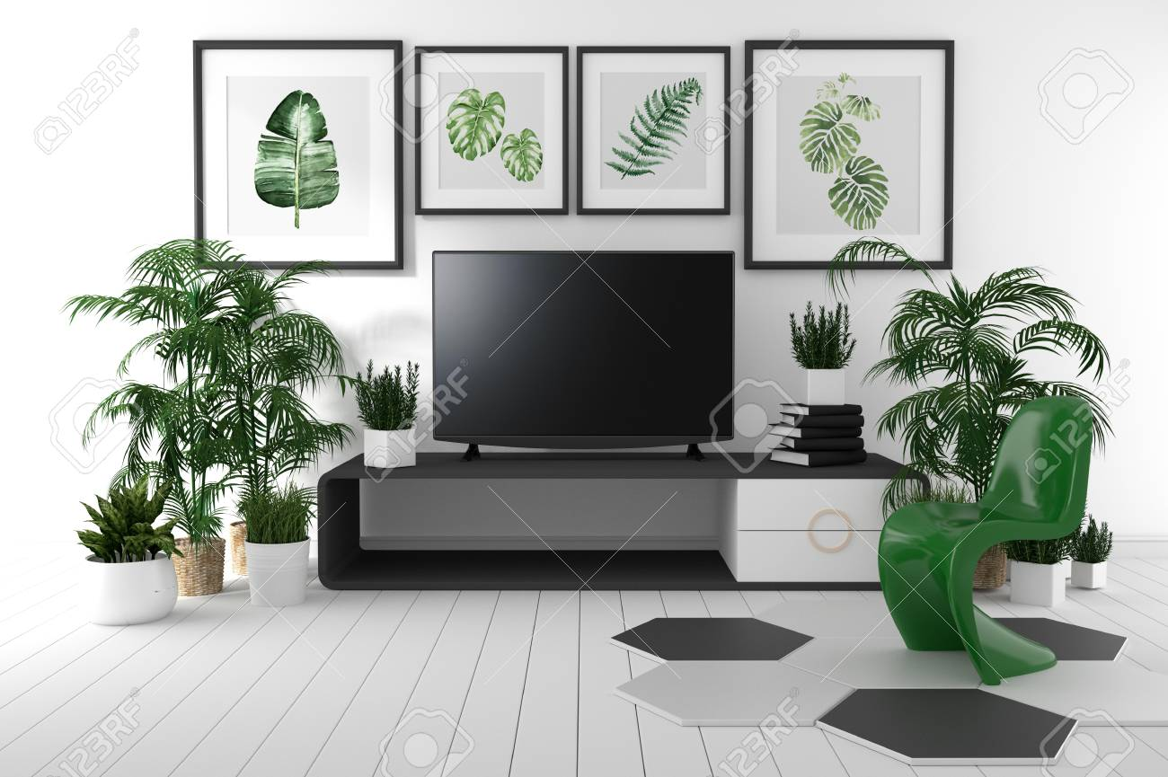 Tv On The Cabinet In Tropical Living Room On White Wall Background3d
