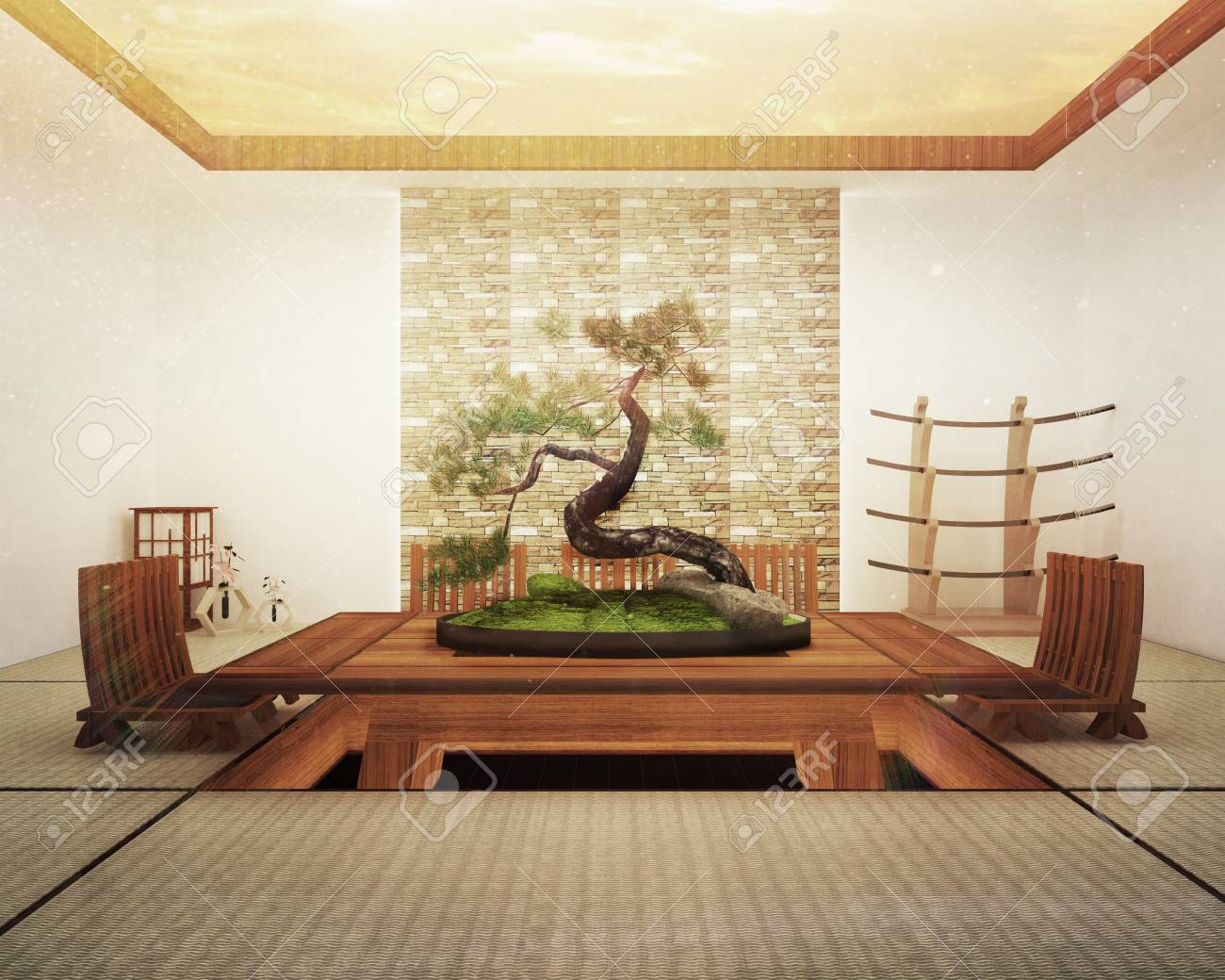 Japanese interior design,modern living room with table and decoration...