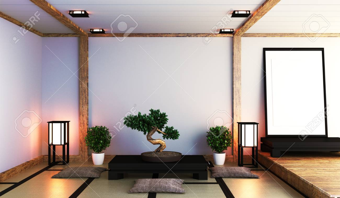 Japanese Living Room With Lamp, Frame, Black Low Table And Bonsai ...
