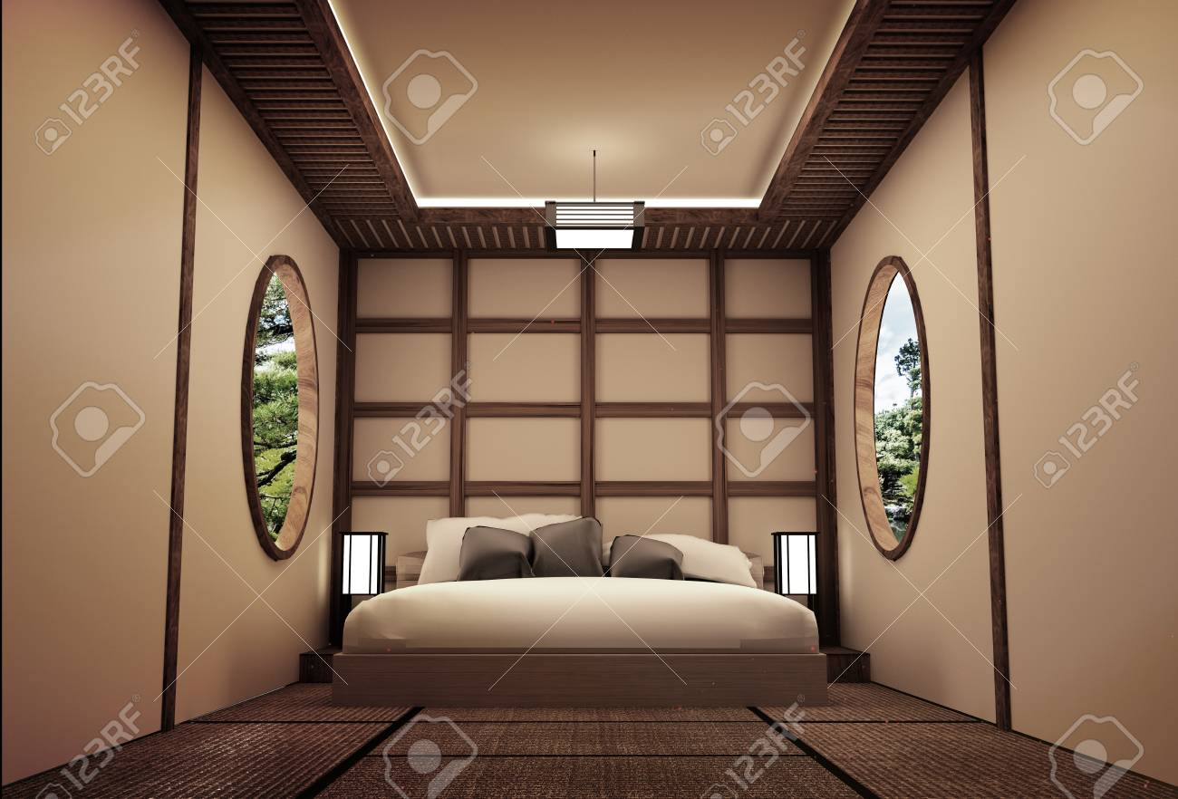 Traditional Japanese Style Bedroom Interior Design 3d Rendering
