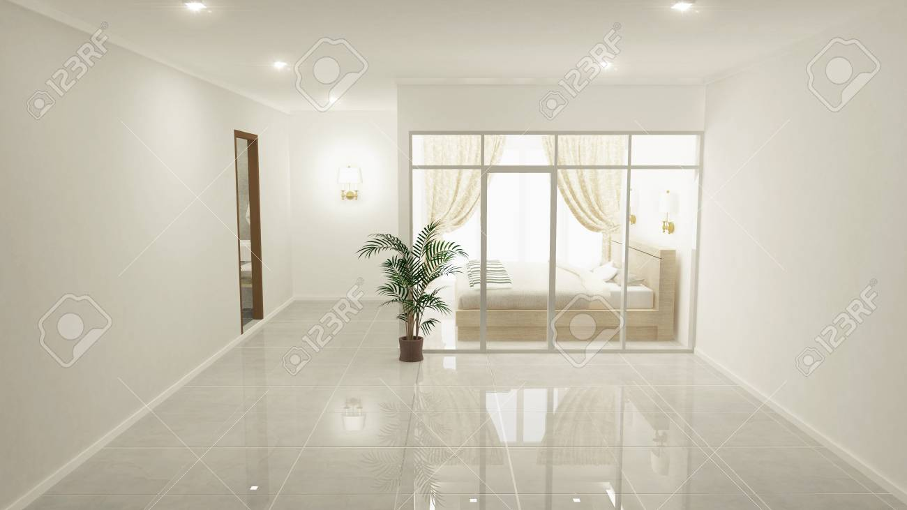 bedroom white classic bedroom on floor tiles granite. 8D rendering