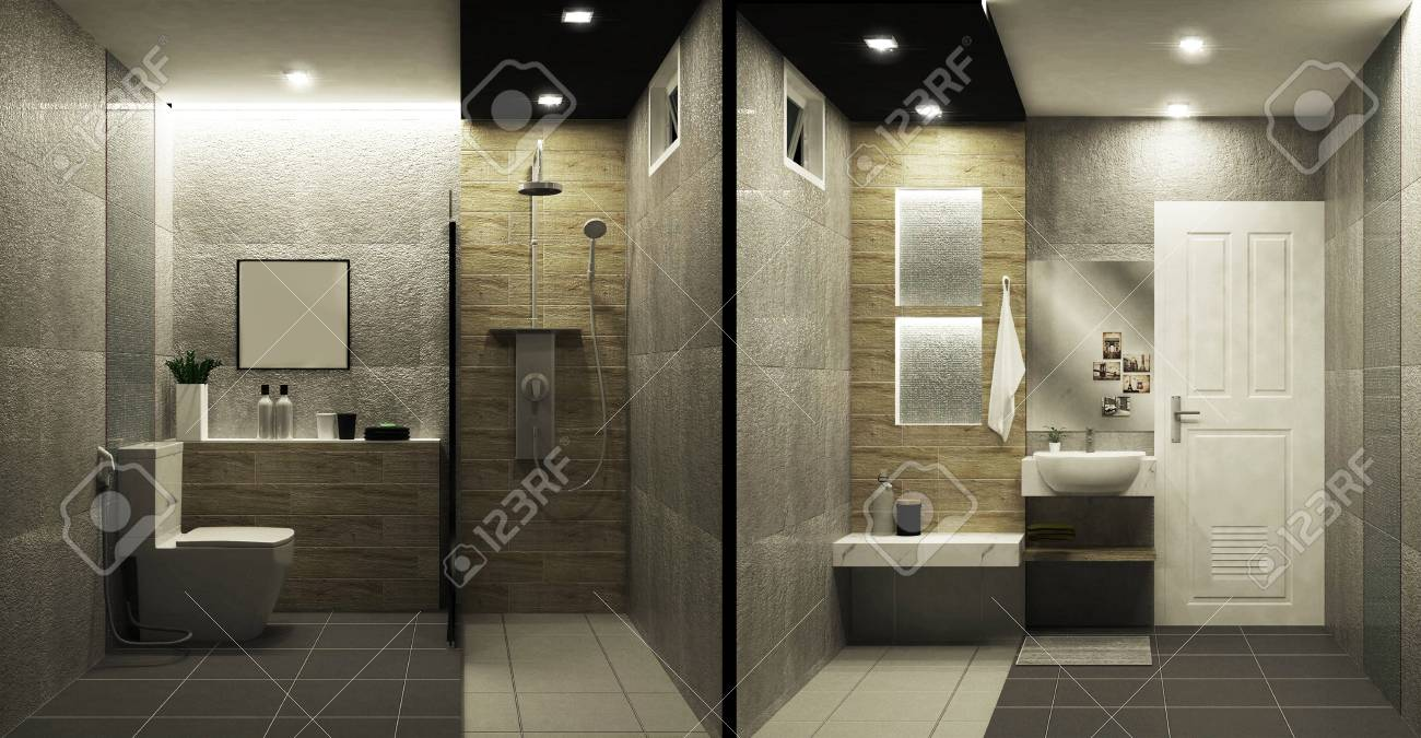 Toilet Loft Style Tiles Two Tone Interior Design 3d Rendering Stock Photo Picture And Royalty Free Image Image 113477665
