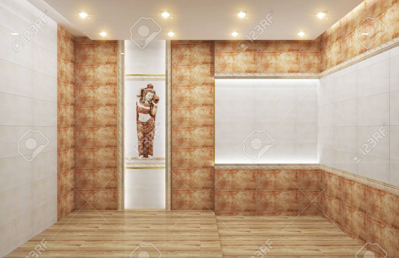 Living Room Interior With Tile Classic Texture Wall Background Stock Photo Picture And Royalty Free Image Image 117438332