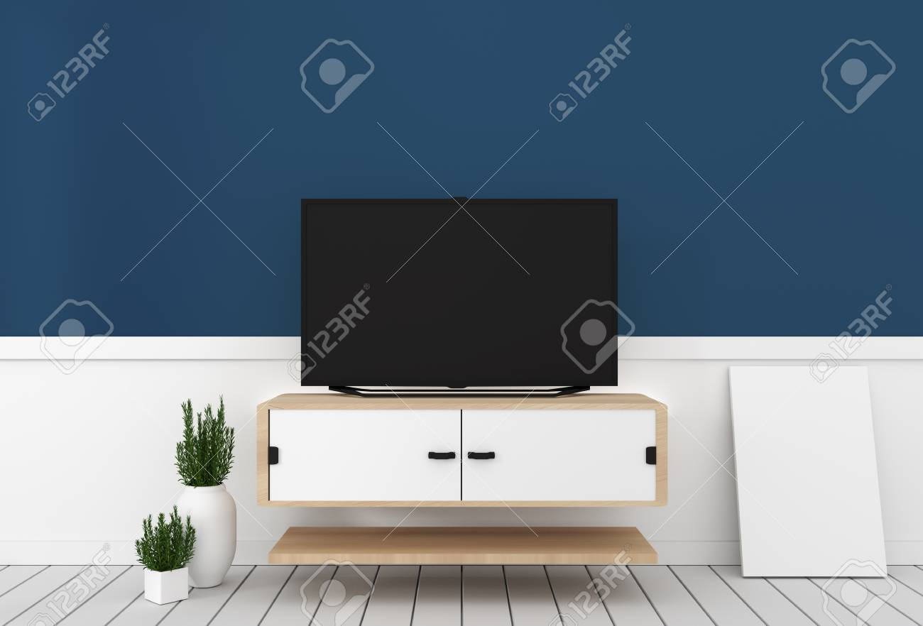 Smart Tv With Blank Black Screen Hanging On Cabinet Design Modern Stock Photo Picture And Royalty Free Image Image 117438330