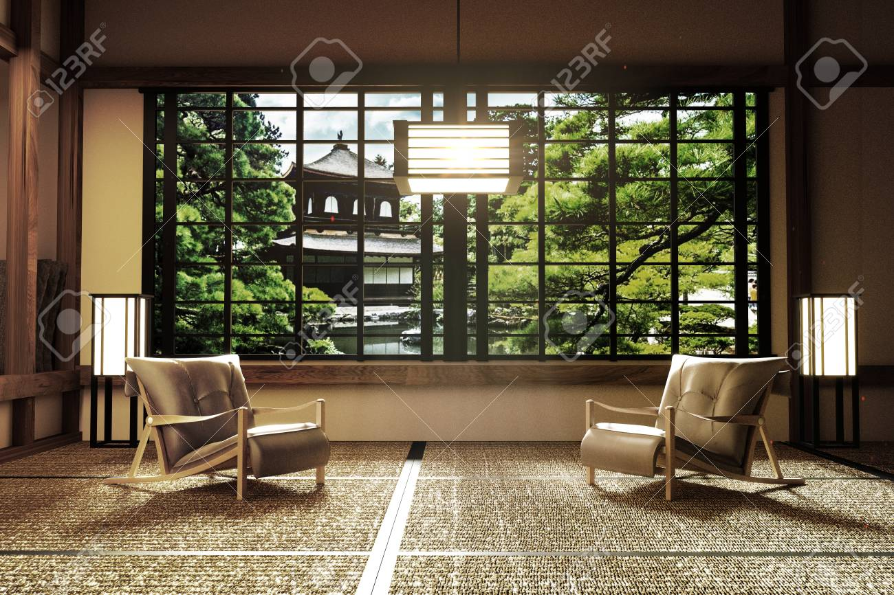 Interior Design,modern Living Room With Chairs,lamp,tatami Floor ...