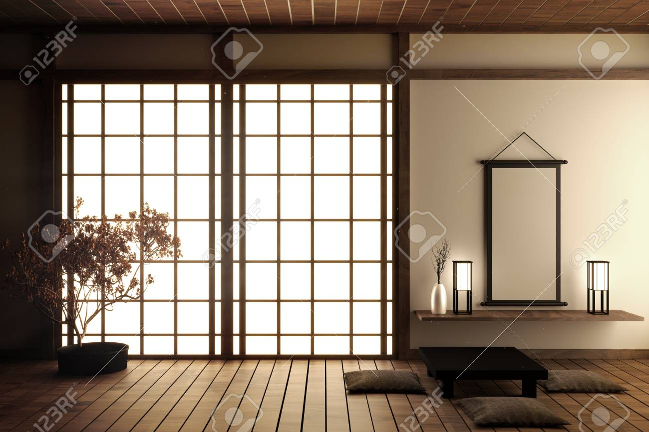 Japanese living room with wood floor and white wall with decoration..