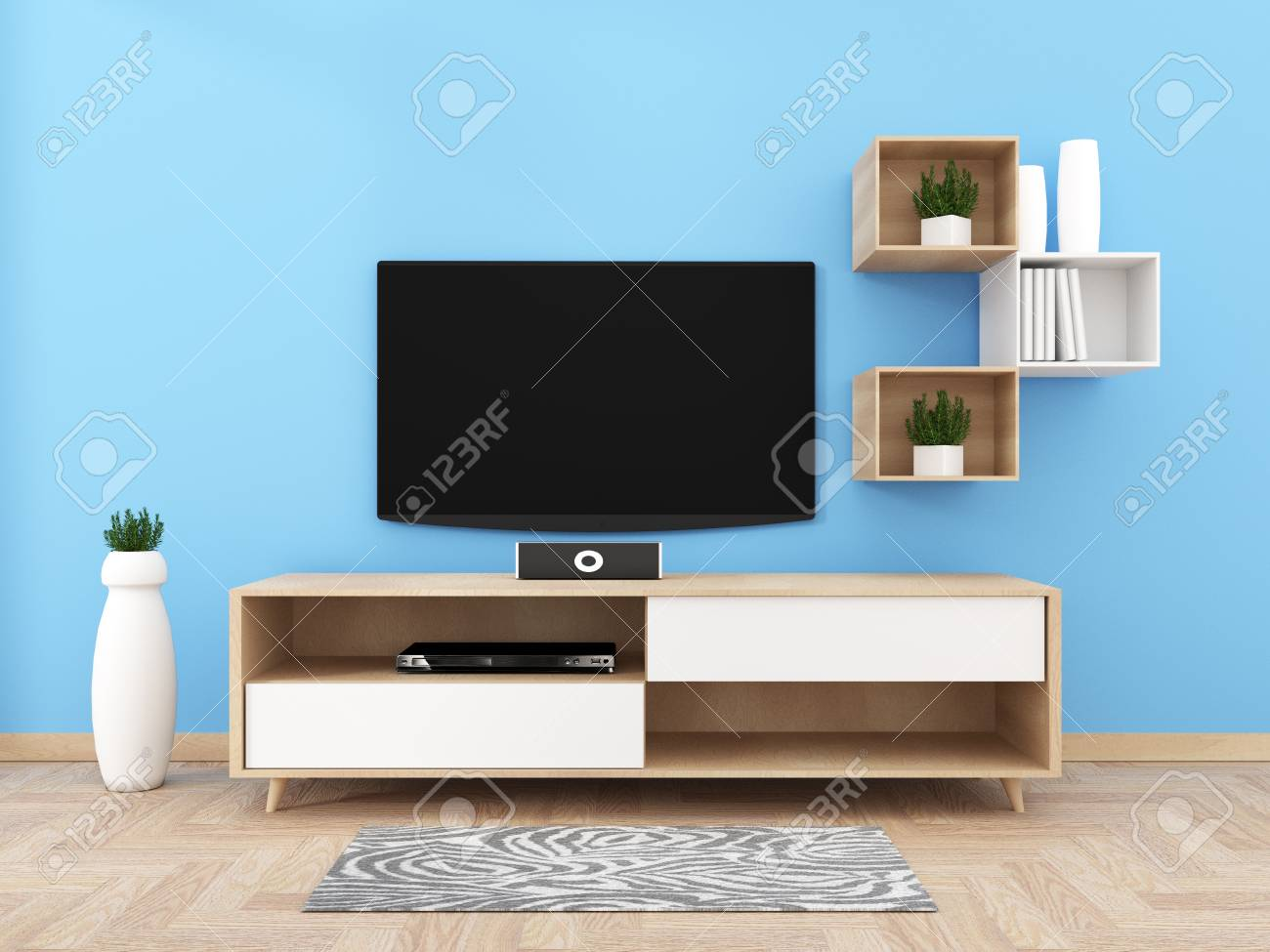 Smart Tv With Blank Black Screen Hanging On Cabinet Design Modern Stock Photo Picture And Royalty Free Image Image 113422722