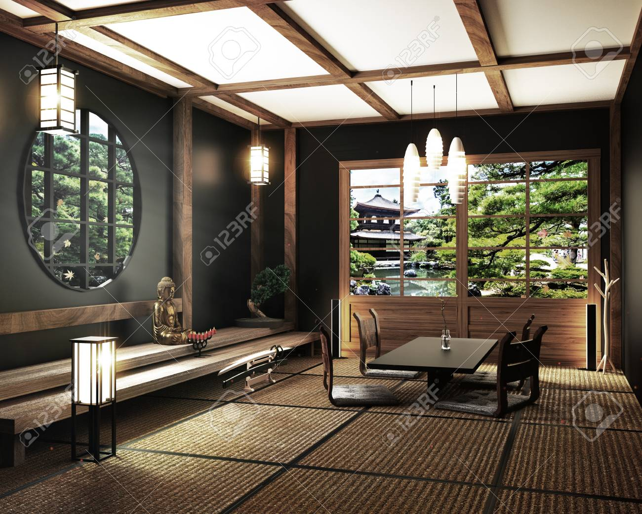 Interior Design, Zen Living Room With Table Katana Sword Lamp And Bonsai  Tree On Room