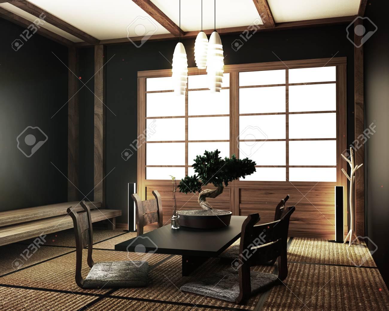 interior design,modern living room with table katana sword lamp..