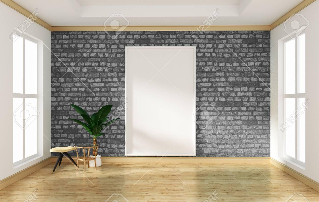 . interior design empty room gray brick wall and wooden floor mock