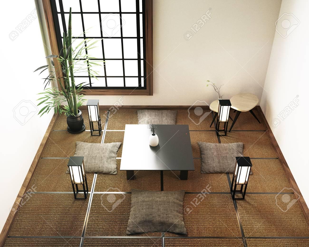 interior design living room with table,tatami mat floor. 3d rendering