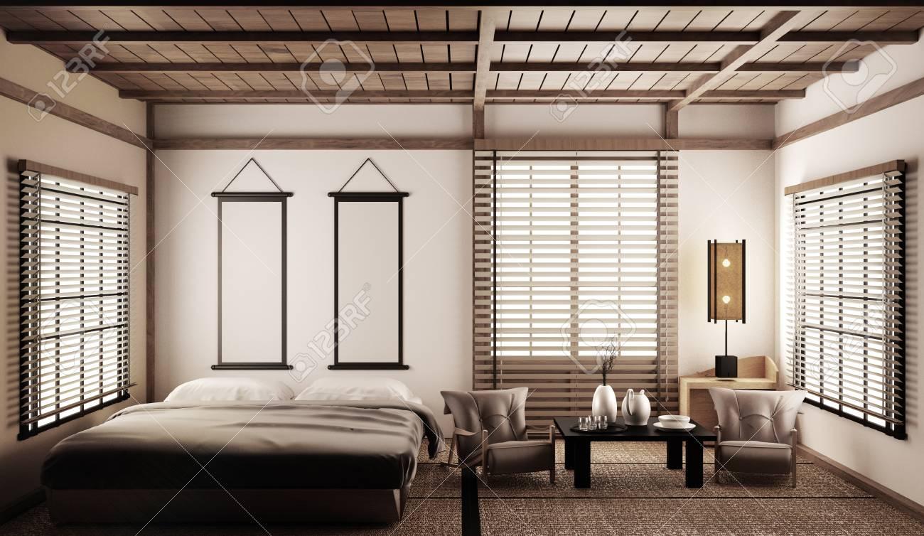 Interior Luxury modern Japanese style bedroom mock up, Designing..
