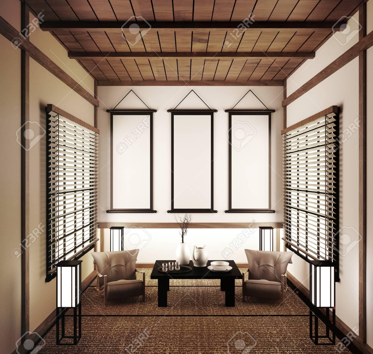 Interior Design,modern Living Room Japanese Style.20d Rendering ...