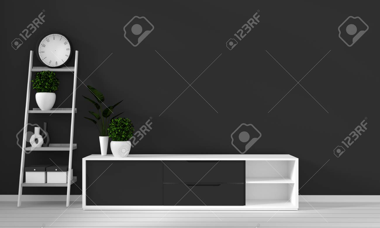 cabinet in modern living room with lamp,cabinet,frame and plant..