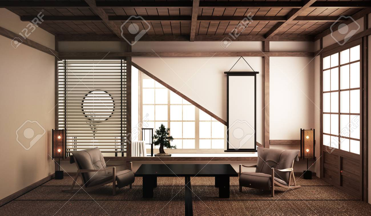 Interior Design,Japanese Living Room Family Very Luxury.3D Rendering Stock Photo, Picture And Royalty Free Image. Image 124898527.