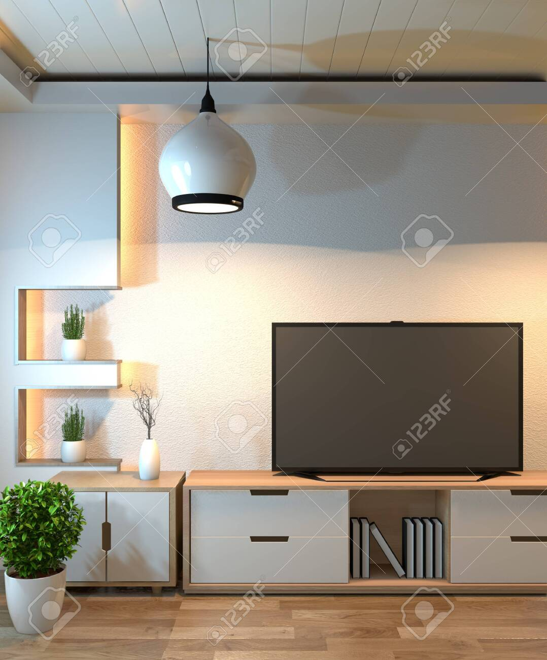 Interior Design Modern Living Room With Smart Tv Table Lamp Stock Photo Picture And Royalty Free Image Image 126633961