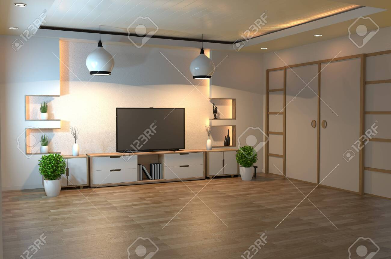 interior design, modern living room with smart tv, table, lamp,..