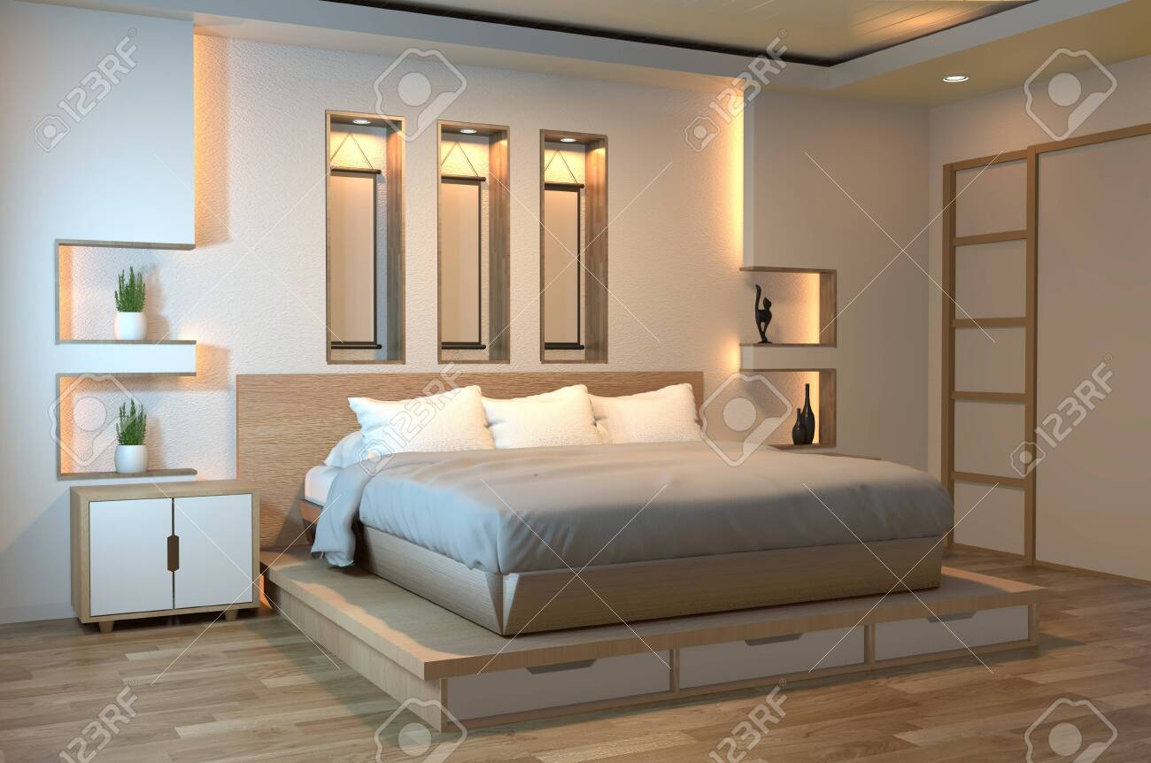 Modern Zen Peaceful Bedroom Japan Style Bedroom With Shelf Wall Stock Photo Picture And Royalty Free Image Image 126633985