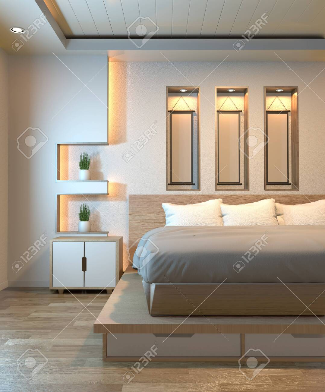 Modern Zen Peaceful Bedroom Japan Style Bedroom With Shelf Wall