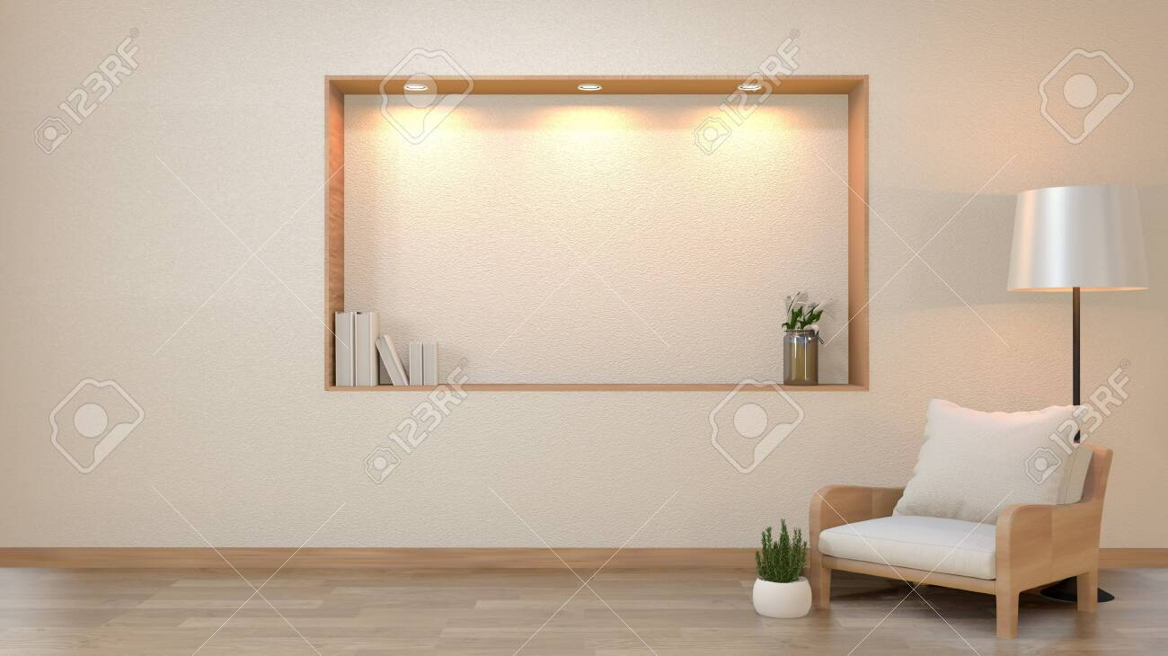 zen living room empty white wall background with decoration japan..