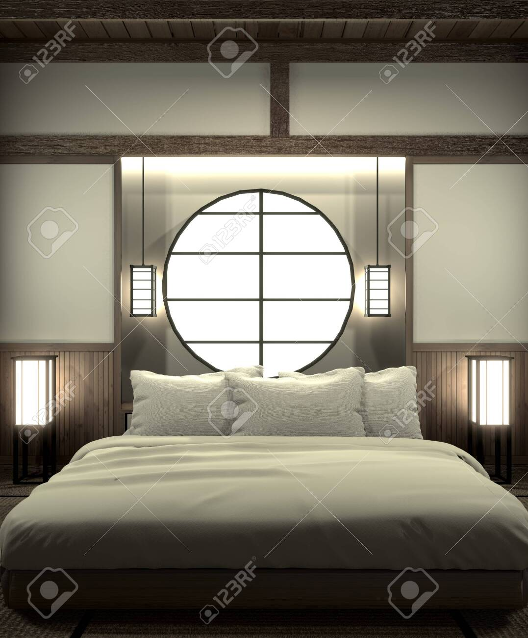 Bedroom Modern Zen Interior Design With Decoration Japanese Style 3d Stock Photo Picture And Royalty Free Image Image 127103694