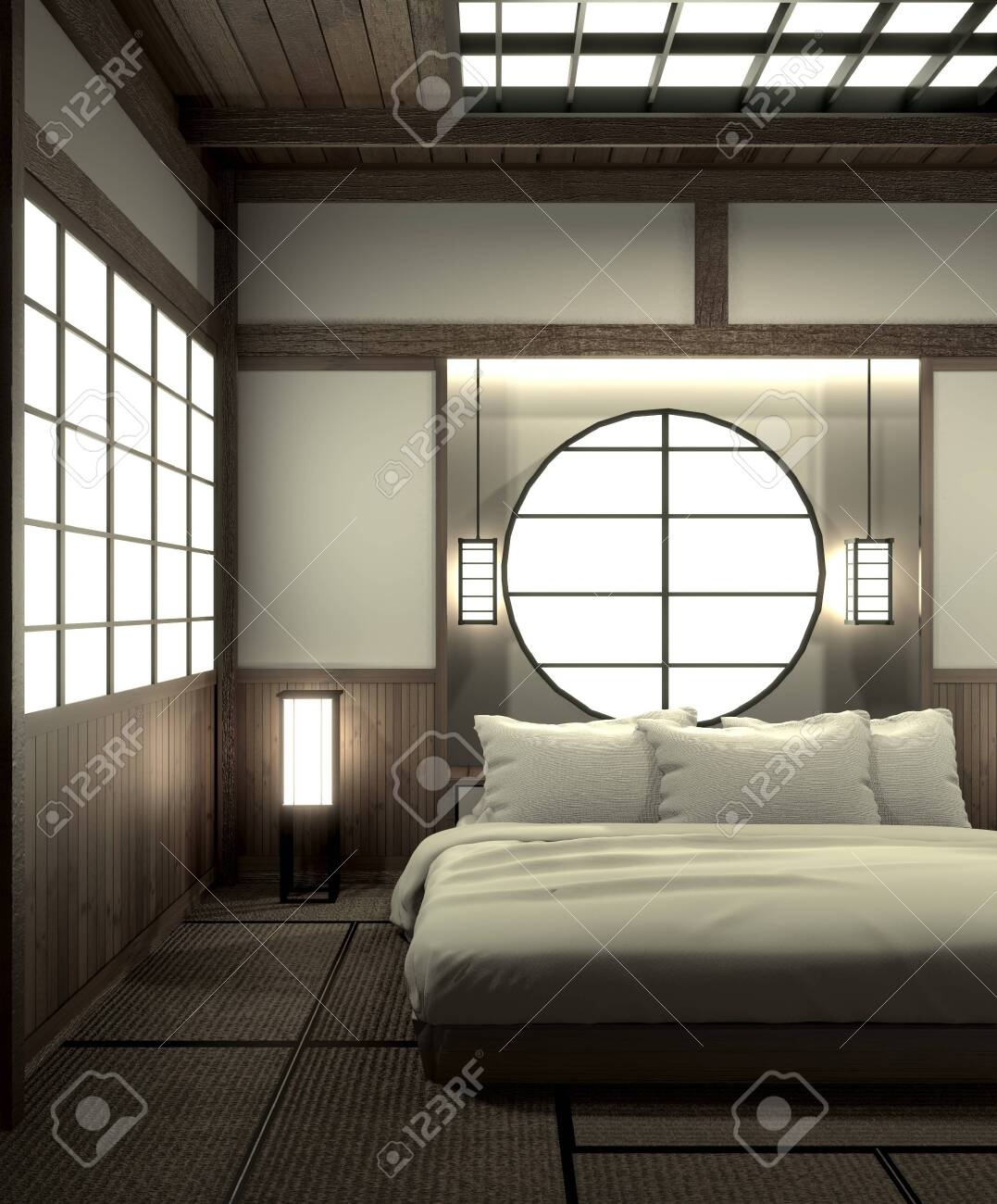Bedroom Modern Zen Interior Design With Decoration Japanese Style 3d Stock Photo Picture And Royalty Free Image Image 127103871