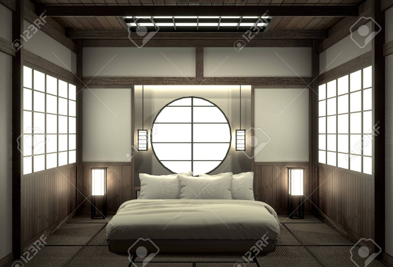 Bedroom Modern Zen Interior Design With Decoration Japanese Style 3d Stock Photo Picture And Royalty Free Image Image 127103872