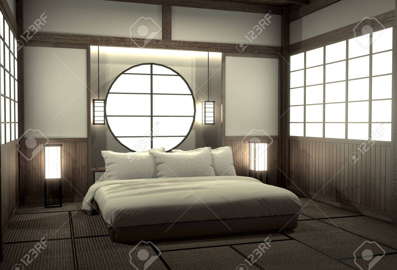 Bedroom Modern Zen Interior Design With Decoration Japanese Style 3d Stock Photo Picture And Royalty Free Image Image 127103884