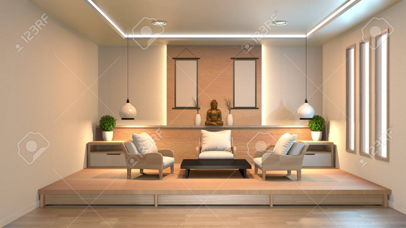 interior design modern living room with wood floor and white..
