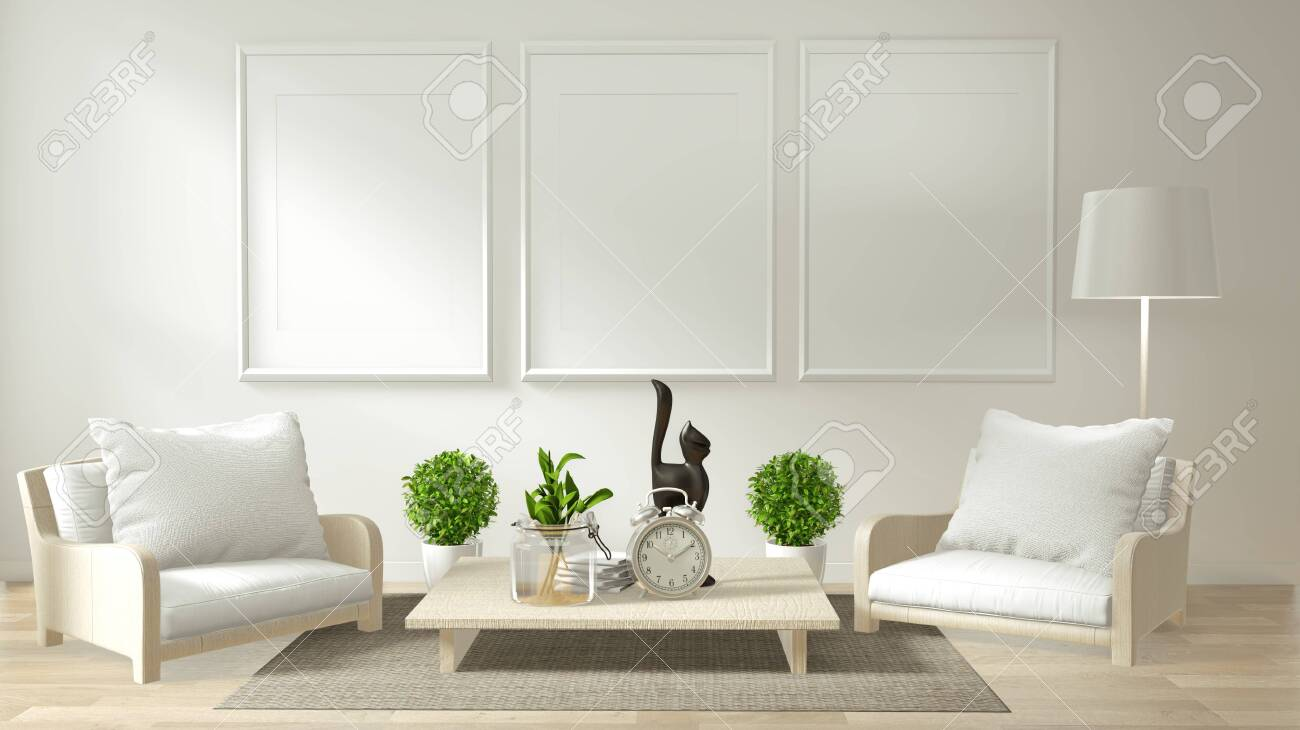 Modern zen living room interior with sofa and green plants japanese..