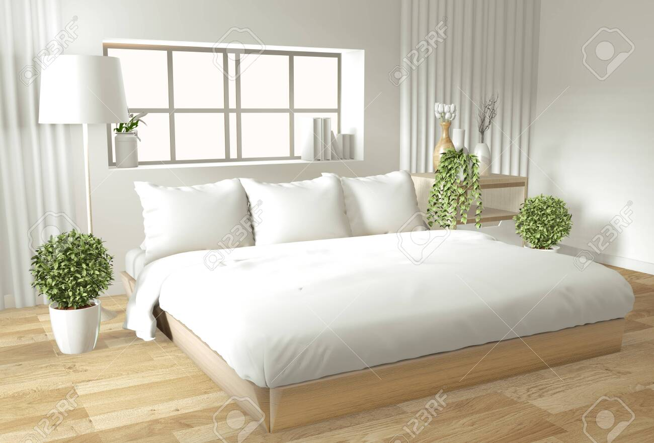 Home Interior Wall Mock Up With Wooden Bed Curtains And Decoration Stock Photo Picture And Royalty Free Image Image 128420076