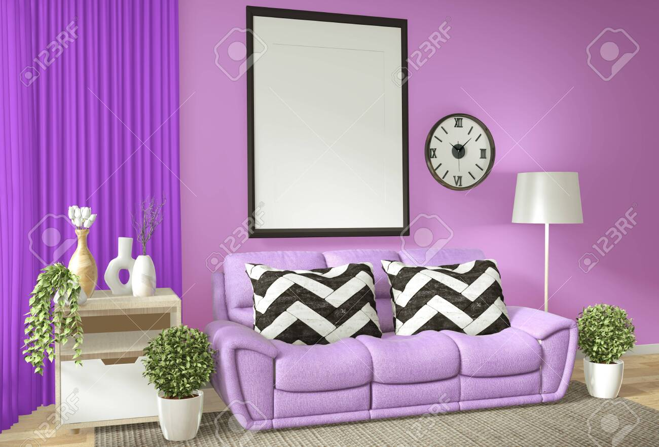 Interior poster frame mock up living room with purple wall white..
