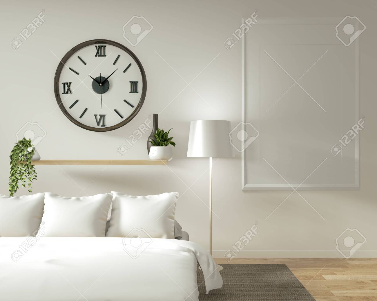 Home interior wall mock up with wooden bed, curtains and decoration..