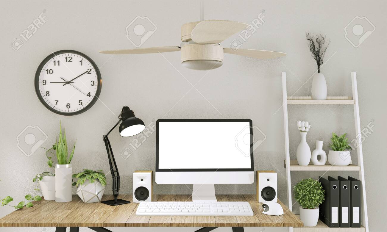 Mock up computer with blank screen and decoration in office room mock up background.3D rendering - 128795624